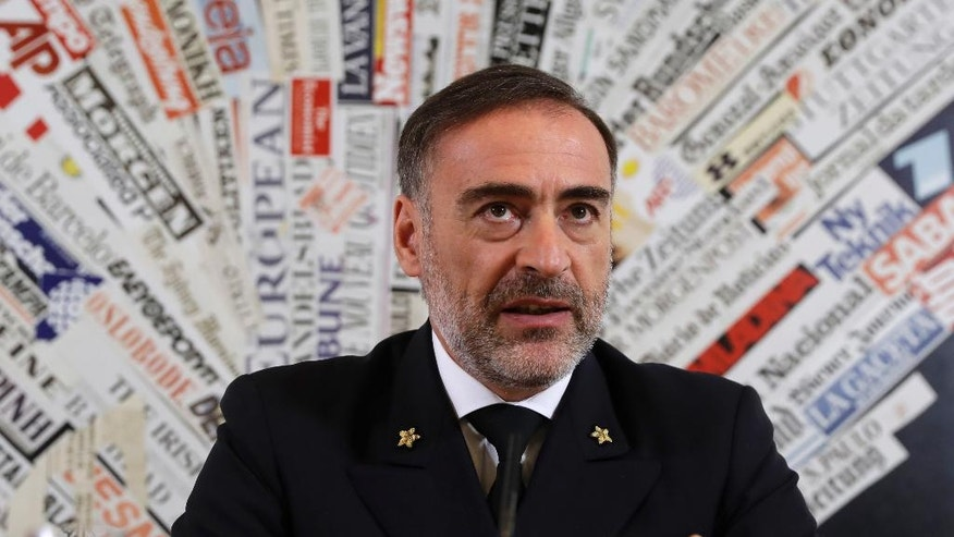"Rear Admiral Enrico Credendino talks during a press conference at the foreign press association, in Rome, Wednesday, Nov. 2, 2016. The head of the Operation Sophia said Wednesday the training program expects to see Libyan forces take control ""in the spring of next year"" of rescue operations in their territorial waters, where about 3,000 migrants die annually. (AP Photo/Alessandra Tarantino)"