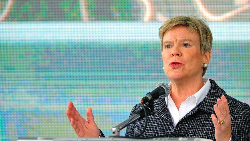 "NATO Deputy Secretary-General Rose Gottemoeller speaks during the International field exercise ""Crna Gora 2016"", in the village of Plavnica, about 10 kilometers (6 miles) south of the Montenegro capital Podgorica, Thursday, Nov. 3, 2016. Gottemoeller says that she expects that the tiny Balkan country will become a member in spring 2017, despite strong opposition from Russia. (AP Photo/Risto Bozovic)"