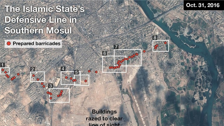 This satellite image taken Oct. 31, 2016, shows the Islamic State group's defensive line in southern Mosul, Iraq. New satellite images show that Islamic State militants in Mosul have set up daunting defenses designed to bog down advancing forces. The images taken Monday and made public by Saturday by Texas-based private intelligence firm Stratfor, show rows of concrete barricades, earthen berms and rubble blocking key routes leading to the core of the city. (Courtesy of Stratfor.com | Airbus via AP)