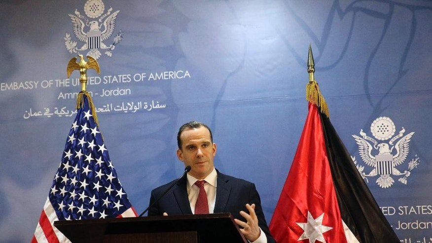 "Brett McGurk, the White House envoy to the U.S.-led military coalition against the Islamic State group, speaks during a press conference at the US Embassy in Amman, Jordan, Sunday, Nov. 6, 2016. McGurk said the U.S. will provide air support for an offensive to retake the Syrian city of Raqqa, the de facto capital of the Islamic State extremist group. Brett McGurk spoke to reporters in Jordan after the offensive was announced Sunday by the Syria Democratic Forces, a Kurdish-led group with Arab fighters. The envoy says the U.S. is also in ""close, close contact"" with its ally Turkey. (Karin Laub/AP Photo)"
