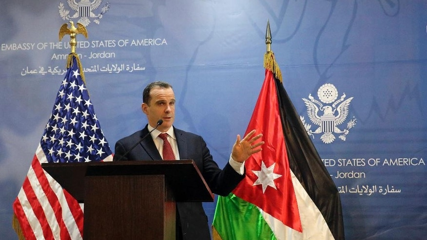 "Brett McGurk, the White House envoy to the U.S.-led military coalition against the Islamic State group, speaks during a press conference at the U.S. Embassy in Amman, Jordan, Sunday, Nov. 6, 2016. McGurk said the U.S. will provide air support for an offensive to retake the Syrian city of Raqqa, the de facto capital of the Islamic State extremist group. Brett McGurk spoke to reporters in Jordan after the offensive was announced Sunday by the Syria Democratic Forces, a Kurdish-led group with Arab fighters. The envoy says the U.S. is also in ""close, close contact"" with its ally Turkey. (Karin Laub/AP Photo)"