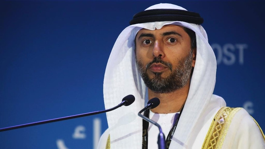 Emirati Energy Minister Suhail al-Mazroui gives a speech at the annual Abu Dhabi International Petroleum Exhibition & Conference in Abu Dhabi, United Arab Emirates, on Monday, Nov. 7, 2016. Those attending the conference this week remain worried about low global oil prices. (AP Photo/Jon Gambrell)