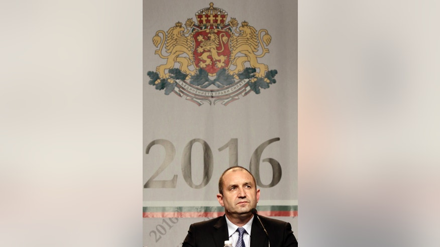 Bulgaria's Socialist party presidential candidate Rumen Radev speaks during a press conference after presidential election in Bulgaria, Sofia, Sunday, Nov. 6, 2016. The former Bulgarian Air Force officer who has called on the European Union to lift its sanctions against Russia was the likely winner of the country's presidential election Sunday, but he did not secure enough votes to avoid a runoff, exit polls showed. (AP Photo/Valentina Petrova)