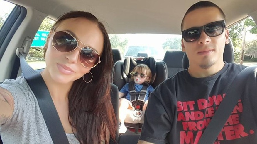 Tia Giattino (left) and Manuel Rosales with their son. (Photo: via Facebook)