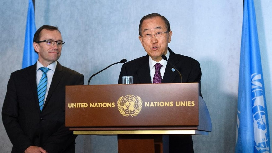 United Nations Secretary General Ban Ki-moon, right, speaks next to UN Special Adviser for Cyprus Espen Barth Eide, left, before a meeting related to reunification talks on Cyprus in Mont Pelerin, Switzerland, Monday, Nov. 7, 2016. Ban is urging the rival leaders of ethnically divided Cyprus to seize the opportunity for a reunification deal that he says is within their reach. (Laurent Gillieron/Keystone via AP)