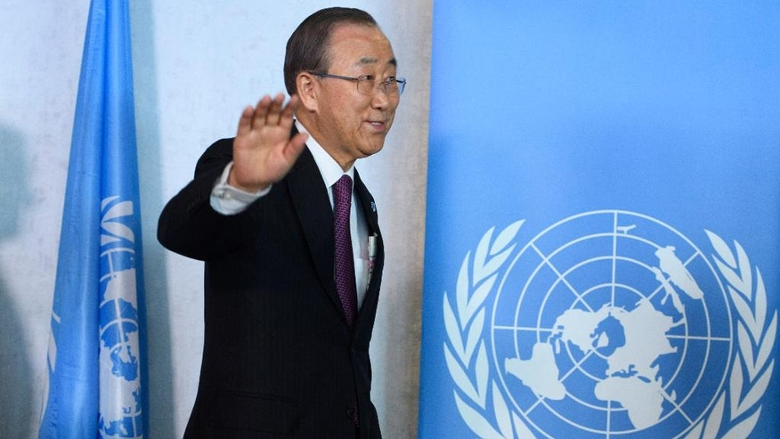 United Nations Secretary General Ban Ki-moon waves as he arrives for a meeting related to reunification talks on Cyprus in Mont Pelerin, Switzerland, Monday, Nov. 7, 2016. Ban is urging the rival leaders of ethnically divided Cyprus to seize the opportunity for a reunification deal that he says is within their reach. (Laurent Gillieron/Keystone via AP)
