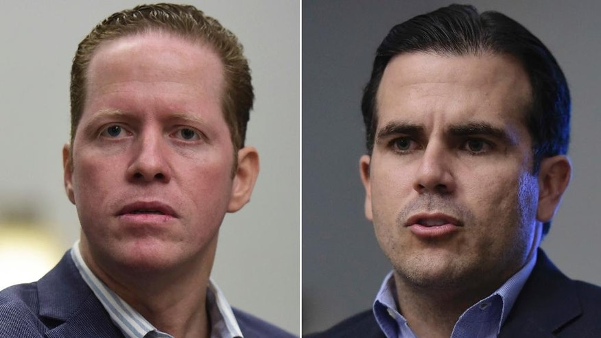 This two photo combo made with Oct. 29, 2016 file photo shows, David Bernier, candidate for governor of Puerto Rico and president of the Democratic Popular Party, left, and Ricardo Rossello, leading candidate for governor of Puerto Rico, and president of the New Progressive Party, in San Juan, Puerto Rico. Residents of Puerto Rico are U.S. citizens, but they can't vote in the U.S. presidential election, a fact that the leading candidate for governor wants to change. (AP Photo/Carlos Giusti, File)