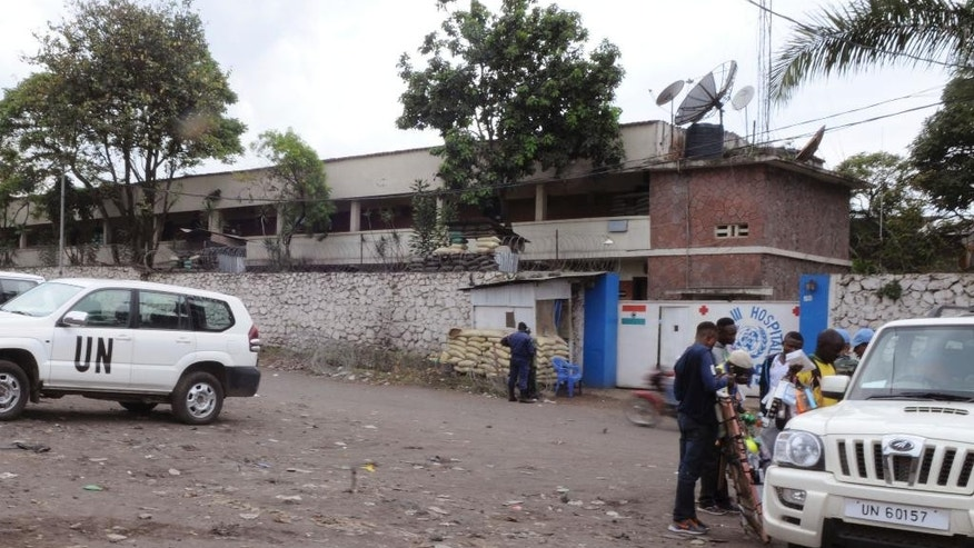 The outside of the U.N. hospital where people are being treated after a blast on the outskirts of Goma, Democratic Republic of Congo, Tuesday, Nov. 8, 2016. A grenade detonated where a group of Indian peacekeepers were exercising on Tuesday morning in eastern Congo, killing at least two people and sparking an angry demonstration that was dispersed by tear gas, officials and witnesses said. One peacekeeper and one 8-year-old child were killed in the blast on the outskirts of Goma, the capital of North Kivu province, said provincial governor Julien Paluku. (AP Photo/Al-hadji Kudra Maliro)
