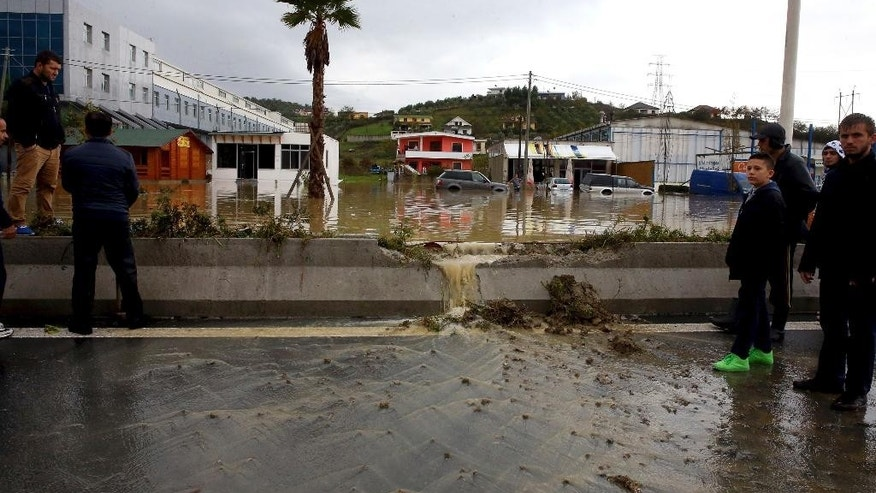 A look at the floodwater in Kashar, 10 kilometers (6 miles) from the capital Tirana Tuesday Nov. 8, 2016. Albanian authorities have sent army troops and other personnel to help people evacuated because of floods caused by heavy rain. No injuries or deaths have been reported so far. (AP Photo/Hektor Pustina)