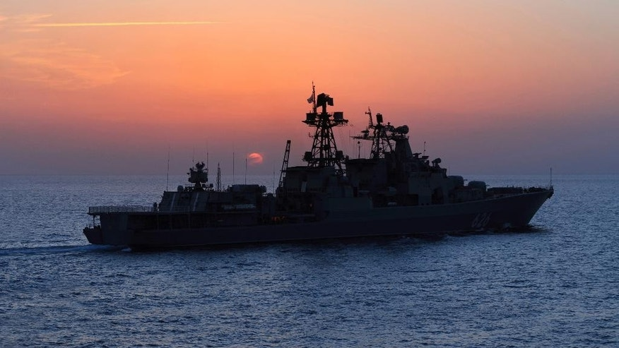 FILE In this Thursday, Jan. 21, 2016 file photo, the Russian navy destroyer Vice Admiral Kulakov on patrol in eastern Mediterranean. The Russian Defense Ministry says two Russian navy destroyers, the Vice Admiral Kulakov and the Severomorsk, drove away a Dutch submarine which was shadowing the Russian navy carrier group in Eastern Mediterranean on Wednesday Nov. 9, 2016. (Vadim Savitsky/Russian Defense Ministry Press Service via AP, file)