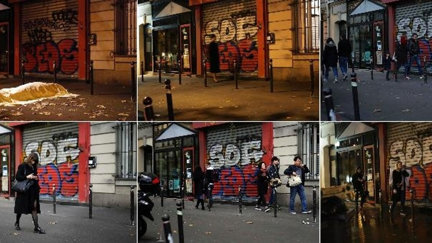 A combo which also includes a Friday Nov. 13, 2015 file photo, top left, showing a victim under a blanket dead outside the Bataclan theater in Paris and a series of recently taken images showing the exact spot. The identity of the lone body in the street, has never been publicly revealed, though the photo of it shot by Associated Press photographer Jerome Delay was one of the iconic images from that night. (AP Photo/Jerome Delay)
