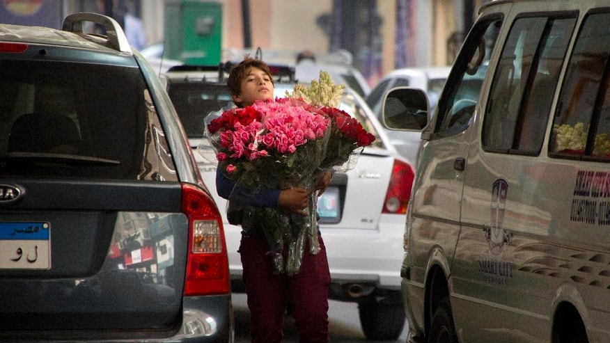 "In this Wednesday, Nov. 9, 2016 photo, an Egyptian child sells flowers at a traffic light in Cairo, Egypt, Wednesday, Nov. 9, 2016. Egypt's shock therapy reforms are rewriting the social contract that long ruled the country _ ""accept autocracy, receive bread."" The currency has dropped in value after being floated, and subsidies have been cut, hiking prices on the poor. Now some demand political reforms and a lifting of the heavy security hand in turn, but it seems unlikely.(AP Photo/Amr Nabil)"