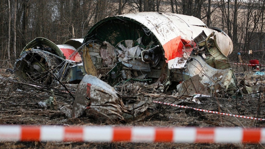 This Sunday April 11, 2010 file photo shows the wreckage of the Polish presidential plane which crashed early Saturday in Smolensk, western Russia