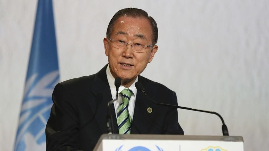 "United Nations Secretary-General Ban Ki-moon speaks during the opening session of the U.N. climate conference in Marrakech, Morocco, Tuesday, Nov. 15, 2016. United Nations Secretary-General Ban Ki-moon says he hopes Donald Trump will shift course on global warming and ""understand the seriousness and urgency"" of addressing the problem. (AP Photo/Mosa'ab Elshamy)"