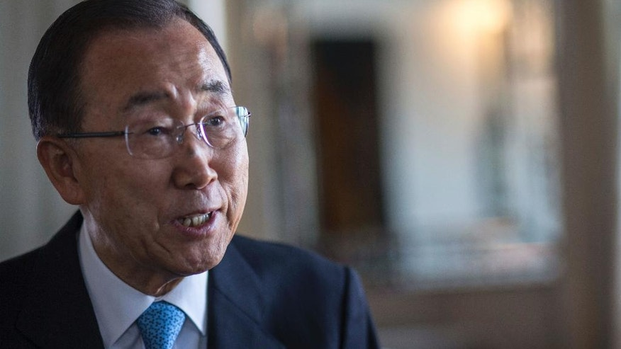 United Nations Secretary-General Ban Ki-moon speaks to the Associated Press during an interview, in Marrakech, Morocco, Wednesday, Nov. 16, 2016. (AP Photo/Mosa'ab Elshamy)