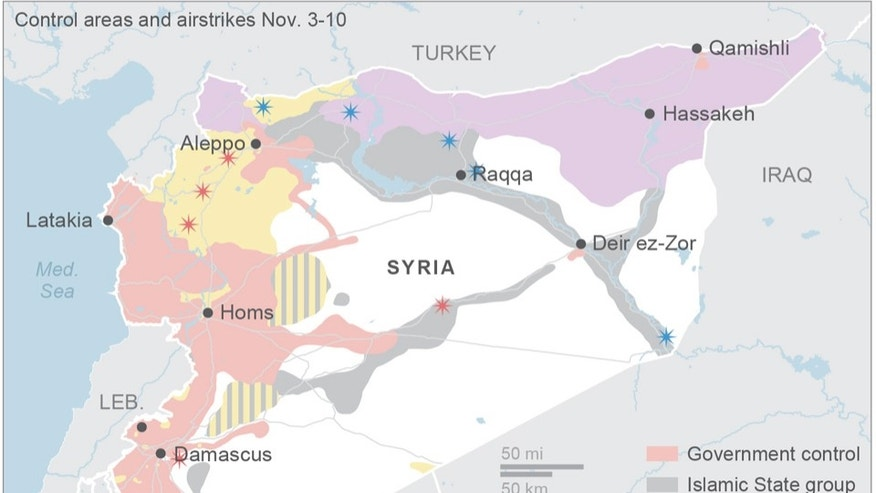Map shows areas of control in Syria and recent airstrikes; 3c x 3 1/4 inches; 146 mm x 82 mm;
