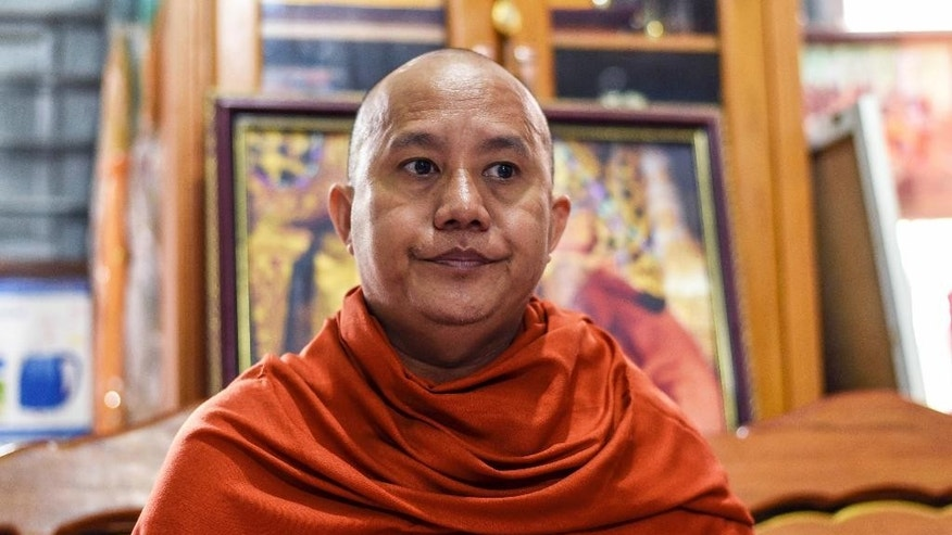 RETRANSMISSION WITH DELETING HONORIFIC PER AP STYLE - In this Nov. 12, 2016 photo, Wirathu, a high-profile leader of the Myanmar Buddhist organization known as Ma Ba Tha, is interviewed at his monastery in Mandalay, Myanmar. Shunned by Myanmar's new government and its Buddhist hierarchy, the nationalist monk blamed for whipping up at times bloody anti-Muslim fervor said he feels vindicated by U.S. voters who elected Donald Trump to be president. (AP Photo/Aung Naing Soe)