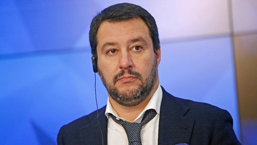 Italy's Northern League leader Matteo Salvini attends a news conference at RIA Novosti news agency in Moscow, Russia, Friday, Nov. 18, 2016. Salvini is in Russia to meet the Italian community in Russia as part of his campaign against an institutional referendum sponsored by Italian Premier Matteo Renzi's government to change the role of the Italian Senate as provided by the 1948 Italian Constitution. (AP Photo/Alexander Zemlianichenko)