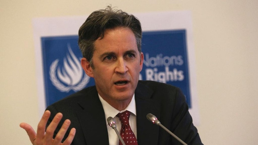 "United Nations Special Rapporteur David Kaye speaks to the media about the situation of the right to freedom of opinion and expression in Turkey, in Ankara, Turkey, Friday, Nov. 18, 2016. "" The space for critical voices, academics, journalists, lawyers and others in civil society has been under threat,"" Kaye said.(AP Photo/Burhan Ozbilici)"