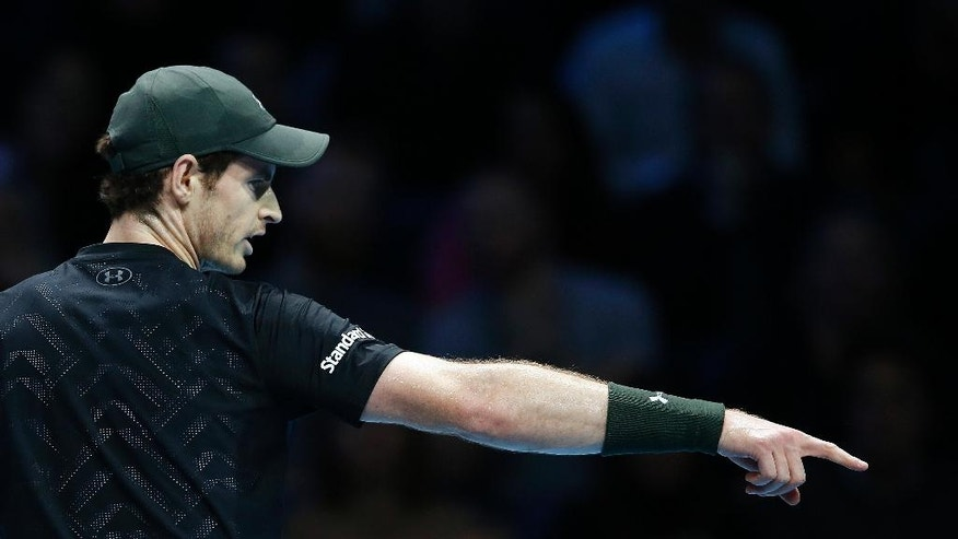 Andy Murray of Britain points during his ATP World Tour Finals singles final tennis match against Novak Djokovic of Serbia at the O2 arena in London, Sunday, Nov. 20, 2016. (AP Photo/Alastair Grant)