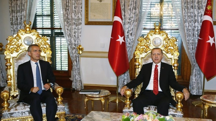 """Turkey's President Recep Tayyip Erdogan, right, and NATO Secretary General Jens Stoltenberg sit during a meeting in Istanbul, Monday, Nov. 21, 2016.  Speaking at the NATO summit in Istanbul, Stoltenberg said he is """"looking forward"""" to working with Donald Trump's upcoming U.S. administration and reiterated the trans-Atlantic alliance's dedication to increasing funds from non-U.S. members. (Kayhan Ozer, Presidential Press Service, Pool photo via AP )"""