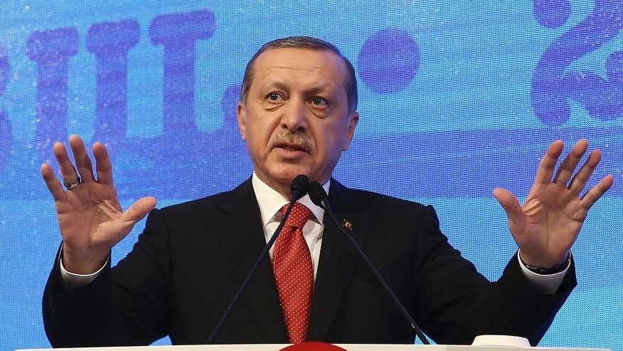 Turkey's President Recep Tayyip Erdogan addresses a NATO parliamentary assembly meeting in Istanbul, Monday, Nov. 21, 2016. Erdogan has called on the United States and other nations to re-assess his country's proposal for the creation of a no-fly zone in northern Syria. Addressing the NATO meeting, Erdogan again criticized allies' reliance on Syrian Kurdish fighters to battle the Islamic State group.(Kayhan Ozer, Presidential Press Service, Pool photo via AP)