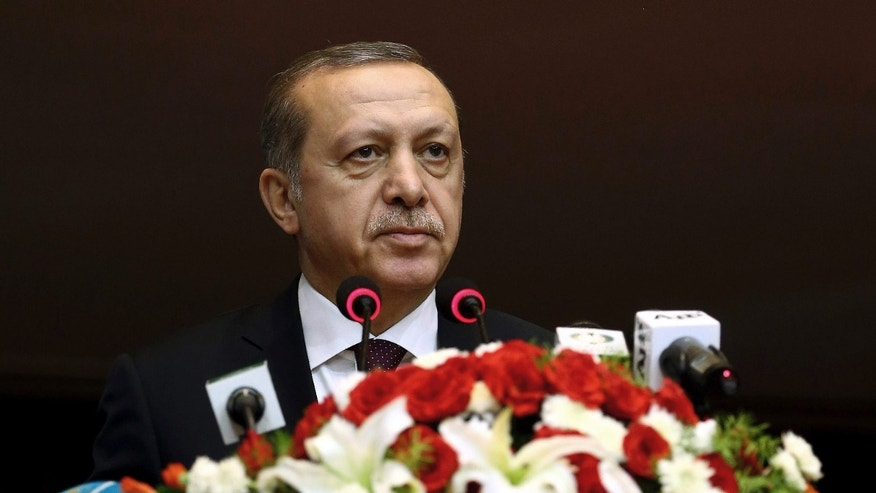 Nov. 17, 2016: Turkey's President Recep Tayyip Erdogan addresses the parliament in Islamabad, Pakistan.