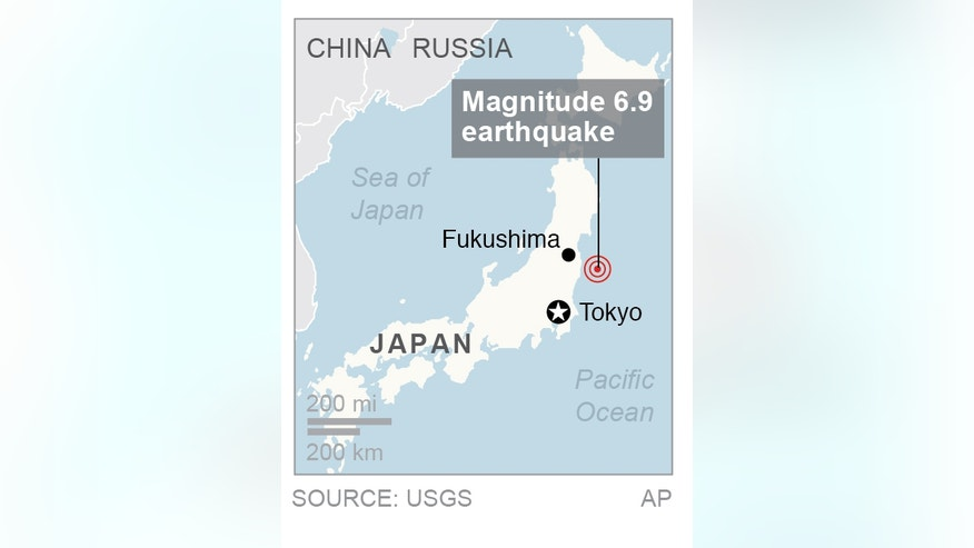 Map locates where an earthquake struck off the coast of Japan; 1c x 2 inches; 46.5 mm x 50 mm;