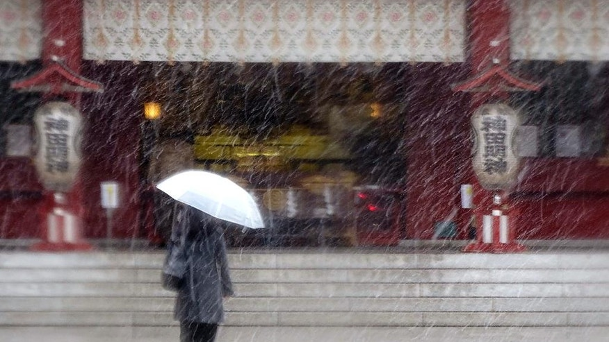 A woman walks in the snow at Kanda Myojin shrine in Tokyo, Thursday, Nov. 24, 2016. Tokyo residents have woken up to the first November snowfall in more than 50 years. An unusually cold air mass brought wet snow to Japan's capital on Thursday. Above-freezing temperatures kept the snow from sticking, but forecasters said there could be an accumulation of up to 2 centimeters (1 inch). The last time it snowed in central Tokyo in November was in 1962.  (AP Photo/Eugene Hoshiko)