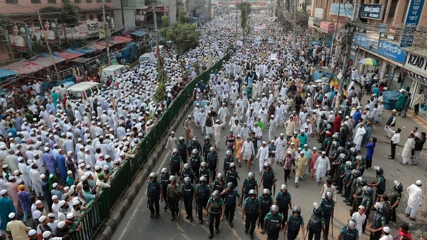Bangladeshi activists of several Islamist political parties attend a protest rally against the persecution of Rohingya Muslims in Myanmar, after Friday prayers in Dhaka, Bangladesh, Nov. 25, 2016. The Myanmar government does not recognize the Rohingya as citizens, though they have lived in the country for generations. Persecution of Rohinyga has escalated in the past several years and they face violence instigated by Buddhist hardliners and institutionalized discrimination. (AP Photo)