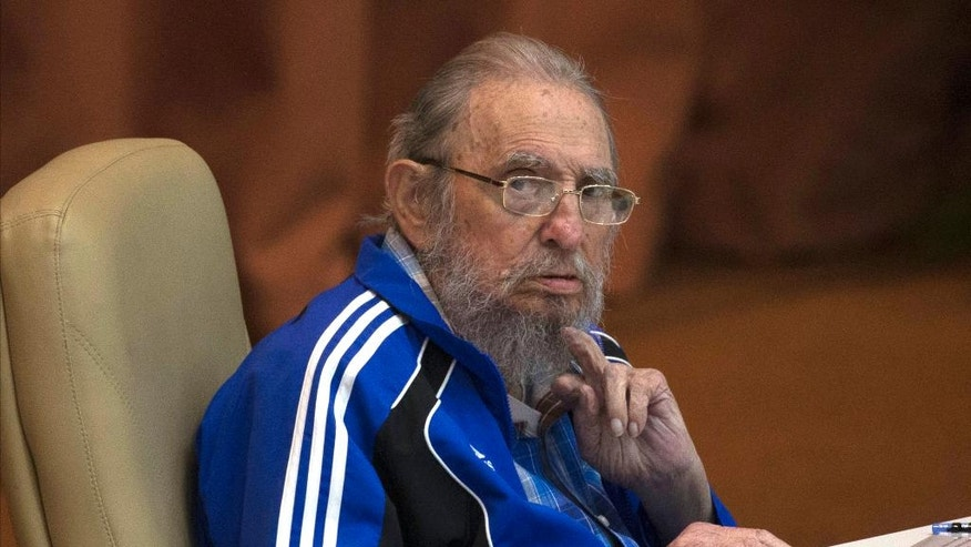 FILE - In this April 19, 2016 file photo, Fidel Castro attends the last day of the 7th Cuban Communist Party Congress in Havana, Cuba. Fidel Castro formally stepped down in 2008 after suffering gastrointestinal ailments and public appearances have been increasingly unusual in recent years. Cuban President Raul Castro has announced the death of his brother Fidel Castro at age 90 on Cuban state media on Friday, Nov. 25, 2016.(Ismael Francisco/Cubadebate via AP, File)