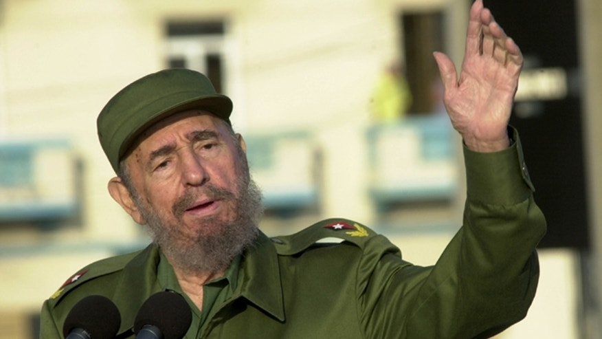 Fidel Castro gives a speech in front of the U.S. Interest Section May 14, 2004 in Havana.