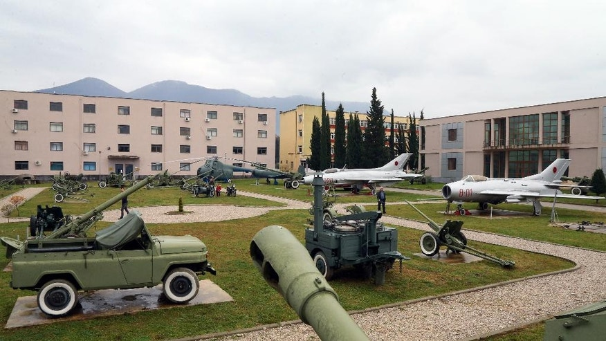 Two old unused Mig jets and other old outdated weaponry of the Albanian army are displayed at the Defense Ministry in the capital Tirana, Monday Nov. 28, 2016, for the celebrations of Independence Day. Albania joined NATO in 2009, and since then has been replacing outdated weaponry with the new ones in line with the alliance's standards. (AP Photo Hektor Pustina)