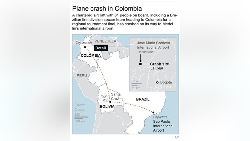 Map locates departure, flight stop, destination and crash site of plane heading to Colombia; 2c x 4 1/2 inches; 96.3 mm x 114 mm;