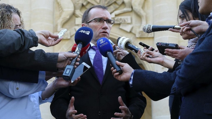 U.N. Special Advisor of the Secretary-General Espen Barth Eide talks to the media after a meeting with the Cyprus' President Nicos Anastasiades at the presidential palace in divided capital Nicosia, Cyprus, Monday, Nov. 28, 2016. Eide meets with the Greek and Turkish Cypriot leaders after the talks with rivals' leaders at Mont Pelerin, Switzerland. (AP Photo/Petros Karadjias)