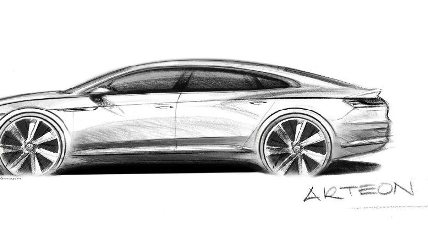 The artist rendering provided by Volkswagen on Monday, Nov. 28, 2016 shows the Volkswagen Arteon that will be presented during the 2017 Geneva Auto Show. The new developed model is positioned above the Passat and will be built in the Volkswagen plant in Emden, northern Germany. (Volkswagen AG via AP)