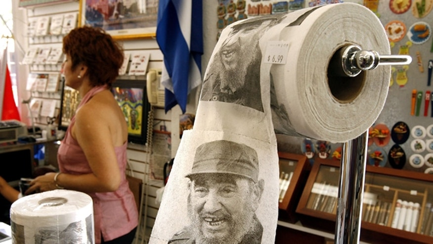 Toilet paper with the face of Cuban leader Fidel Castro is displayed at Sentir Cubano, a Cuban store along Calle Ocho in the Little Havana neighborhood in Miami, Florida. (Photo by Chip Somodevilla/Getty Images)