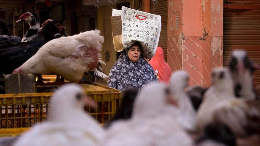 In this Friday, Nov. 25, 2016 picture, a woman carries her shopping bag at a popular market in Cairo, Egypt. Struggling to cope with price increases, some Egyptians are scrimping on meals, some stop eating chicken, buying used clothes or considering moving their children to cheaper schools. (AP Photo/Amr Nabil)