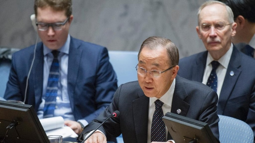"In this Wednesday, Nov. 30, 2016 photo provided by the United Nations, U.N. Secretary General Ban Ki-moon speaks during a Security Council meeting at U.N. headquarters. The council voted Wednesday to further tighten sanctions on North Korea in response to their fifth and largest nuclear test yet. ""The Security Council has today taken strong action on one of the most enduring and pressing peace and security challenges of our time: the nuclear and ballistic missile activities of the Democratic People's Republic of Korea. I welcome the unanimous adoption of this new resolution,"" the Secretary General, who is South Korean, said, referring to North Korea by its full name. (Rick Bajornas/United Nations via AP)"