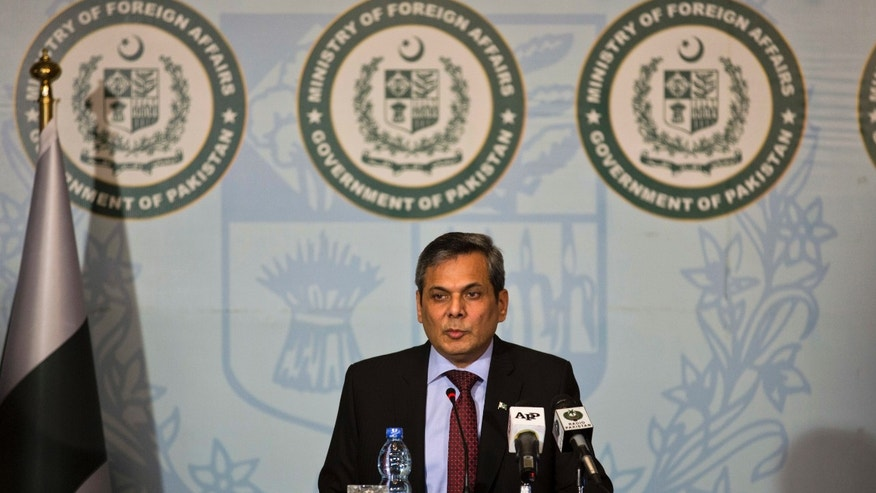 Pakistan's Foreign Ministry spokesman Nafees Zakaria speaks during a weekly briefing in Islamabad, Pakistan.