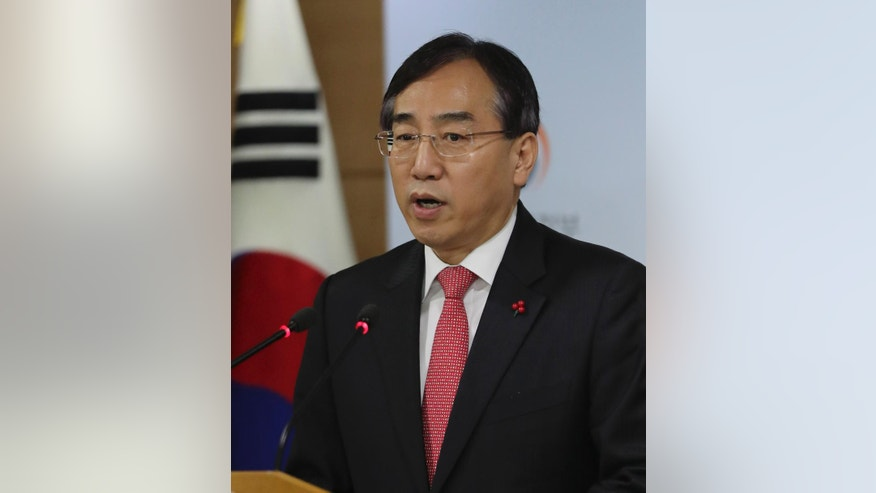 Lee Sukjoon, minister of the Office for Government Policy Coordination, speaks about sanctions on North Korea at the government complex in Seoul, South Korea, Friday, Dec. 2, 2016. South Korea announced Friday a set of largely symbolic, additional sanctions on North Korea for the nuclear and missile tests it conducted this year. (AP Photo/Lee Jin-man)