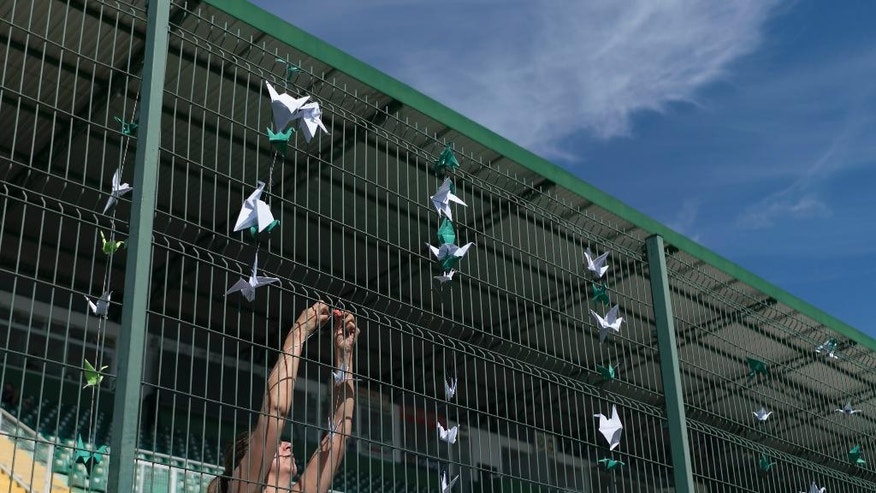 A volunteer hangs paper cranes on the gates of the stadium Arena Conda, home of the Chapecoense Brazilian soccer team, in Chapeco, Brazil, Friday, Dec. 2, 2016. Members of the team and a group of journalists perished on a chartered flight earlier in the week. They were headed to the Copa Sudamericana finals when the chartered plane they were travelling in ran out of fuel, crashing into the Andes outside Medellin. (AP Photo/Renata Brito)