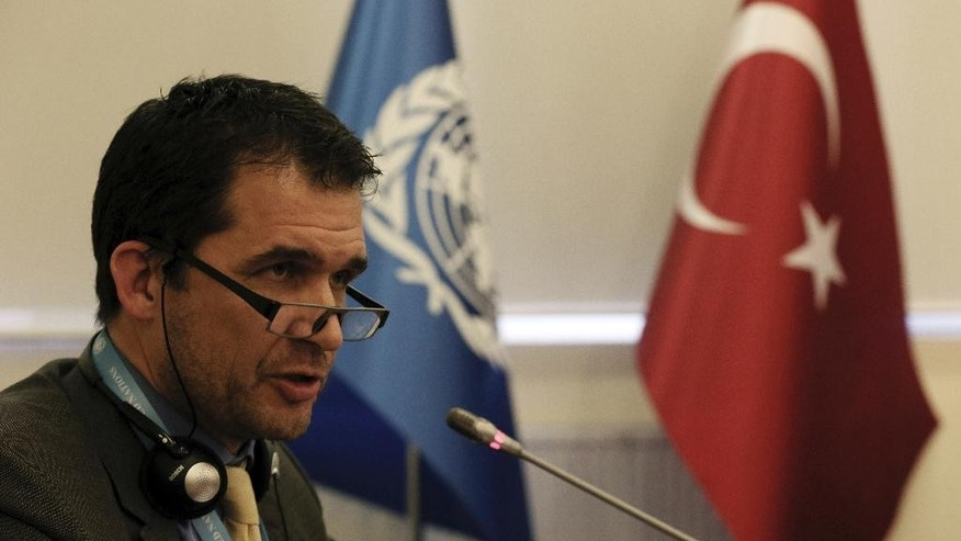 U.N. Special Rapporteur on Torture Nils Melzer speaks to the media in Ankara, Turkey, Friday, Dec. 2, 2016. Melzer says sweeping security measures adopted in Turkey after a failed July 15 coup attempt created an environment conducive to the torture and ill-treatment of detainees despite the presence of legal safeguards.(AP Photo/Burhan Ozbilici)