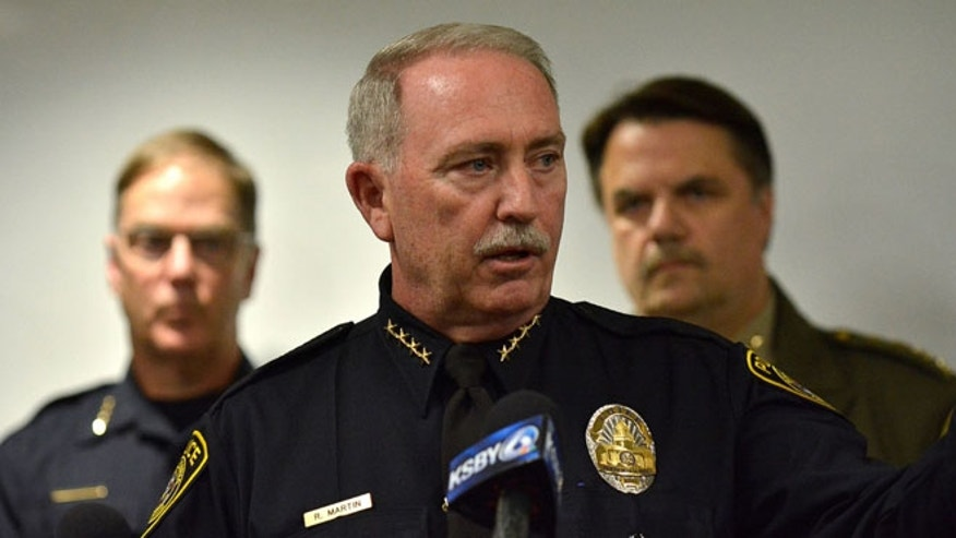 Santa Maria Police Chief Ralph Martin addresses reporters during a press conference about Operation Matador. It was recently revealed that Martin and his department issued a fake press release as a tactic, he said, that saved lives and helped add convincing evidence against the members of MS-13 currently awaiting trial. (Len Wood/The Santa Maria Times via AP)