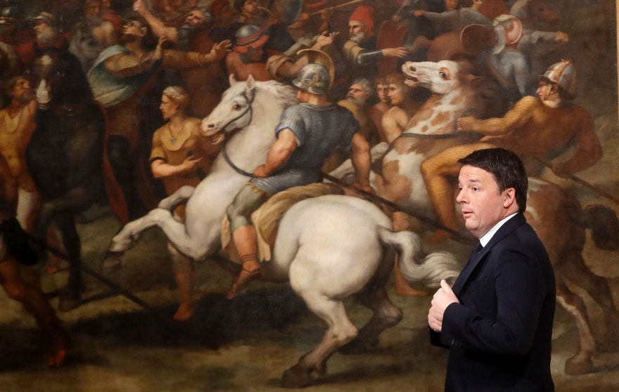 Italian Premier Matteo Renzi arrives at a press conference at the premier's office Chigi Palace in Rome, early Monday, Dec. 5, 2016. Renzi acknowledged defeat in a constitutional referendum and announced he will resign on Monday. Italians voted Sunday in a referendum on constitutional reforms that Premier Matteo Renzi has staked his political future on. (AP Photo/Gregorio Borgia)