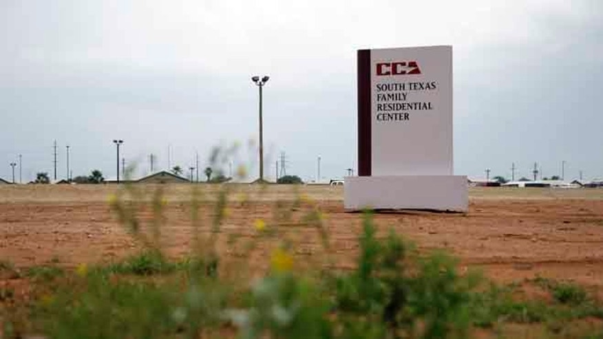 The entrance to the South Texas Family Residential Center in Dilley, Texas.