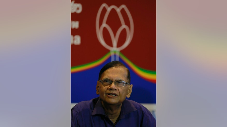 In this Monday, Dec. 5, 2016, photo, Sri Lanka's former foreign minister Gamini Peiris, who heads the newly launched Sri Lanka Podujana Peramuna or Sri Lanka People's Front party, is seen at the headquarters in Colombo, Sri Lanka. Although Mahinda Rajapaksa is still an official member of Sri Lanka Freedom Party, the goal of the newly launched Sri Lanka Podujana Peramuna party is widely expected to resurrect Rajapaksa's fortunes after he lost the Sri Lankan presidency in 2015 in a stunning electoral upset. (AP Photo/Eranga Jayawardena)