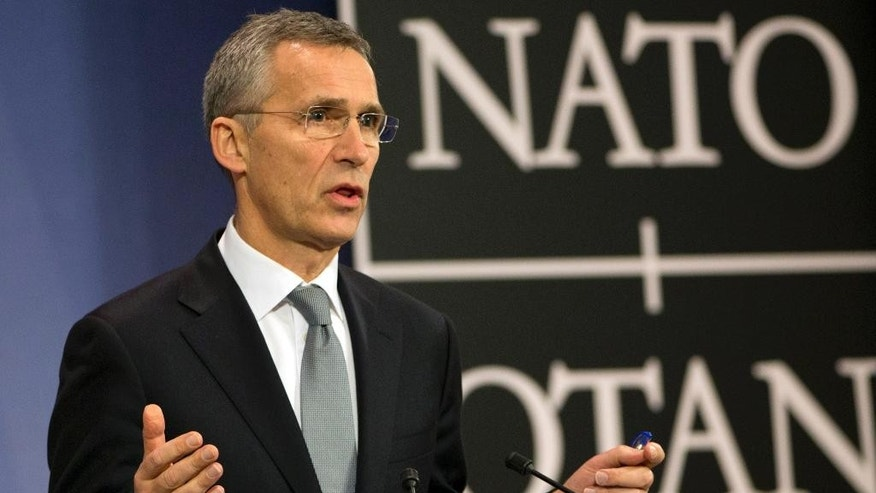 NATO Secretary General Jens Stoltenberg addresses a news conference after a meeting of the NATO-Ukraine Commission at foreign ministers level at NATO headquarters in Brussels on Wednesday, Dec. 7, 2016. NATO Secretary General Jens Stoltenberg says security problems are undermining peace efforts in eastern Ukraine, as a routinely violated cease-fire barely holds in the separatist Donbass region. (AP Photo/Virginia Mayo)