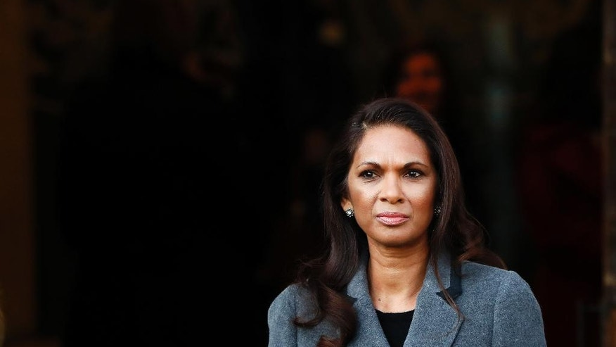 Gina Miller who won a High Court ruling forcing the British government to seek Parliamentary approval before leaving the European Union, arrives at The Supreme Court in London, Monday, Dec. 5, 2016. May's government will ask Supreme Court justices to overturn a ruling that Parliament must hold a vote before Britain's exit negotiations can begin _ a case that has raised a constitutional quandary and inflamed the country's heated debate about Brexit. (AP Photo/Kirsty Wigglesworth)