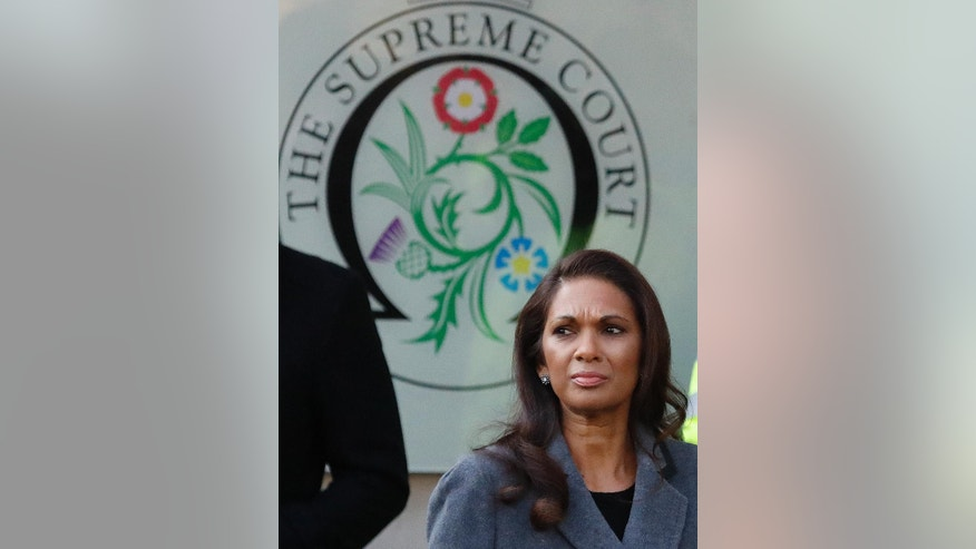 Gina Miller who won a High Court ruling forcing the British government to seek Parliamentary approval before leaving the European Union, arrives at The Supreme Court in London, Monday, Dec. 5, 2016. May's government will ask Supreme Court justices to overturn a ruling that Parliament must hold a vote before Britain's exit negotiations can begin _ a case that has raised a constitutional quandary and inflamed the country's heated debate about Brexit. (AP Photo/Frank Augstein)